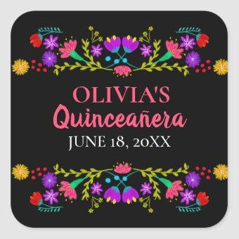 Colorful Mis Quince Anos Mexican Fiesta Flowers Square Sticker