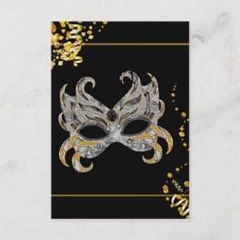Confetti Mask Black Gold Masquerade Party RSVP