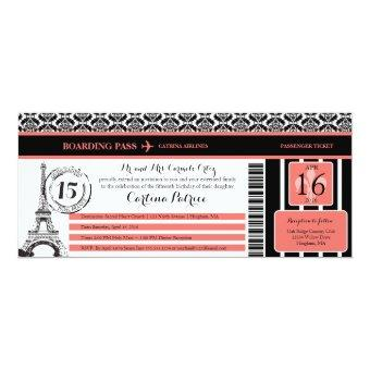 Coral Black Damask Paris Boarding Pass