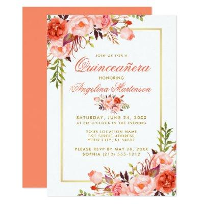 Coral Watercolor Floral Gold Frame