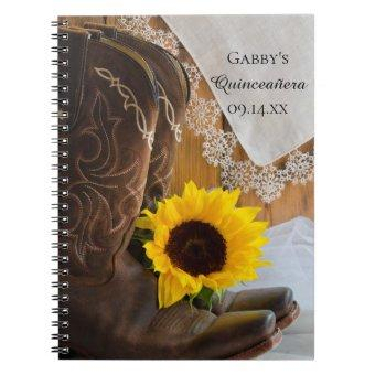 Country Sunflower Lace Western Quinceañera Notebook
