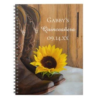 Country Sunflower Western Quinceañera Guest Book
