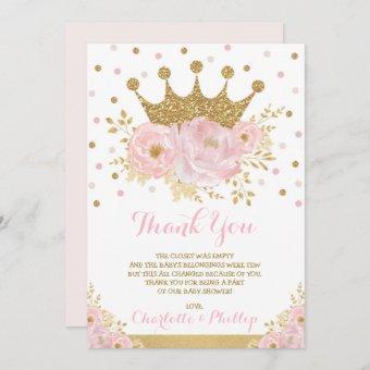 Crown Princess Baby Shower Royal Blush Gold Floral Thank You