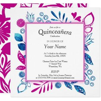 Crystal Blue and Hot Pink Quinceañera