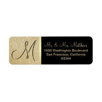 Custom Black Gold Glitter Monogram Letter Return Label