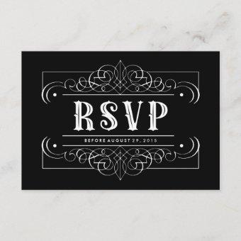 Custom Color South Western RSVP Card - Black White
