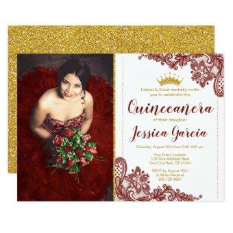 Dark Red Lace & Glitter Gold Princess Quinceañera
