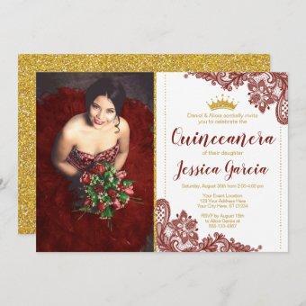 Dark Red Lace & Glitter Gold Princess Quinceañera