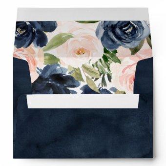 Deep Navy Watercolor Pink Flowers Bridal Wedding Envelope