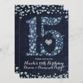Denim & Diamonds Fifteen 15 15th Birthday Party