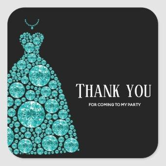 Diamond Glam Gown Dresses Square Sticker
