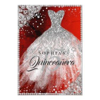 Diamond Lace Sparkle Gown Red Silver