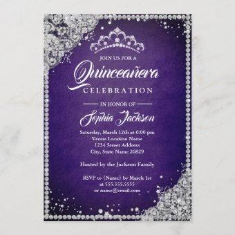 Diamond Lace Sparkle Purple Silver