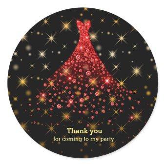 Diamond sparkling gown classic round sticker