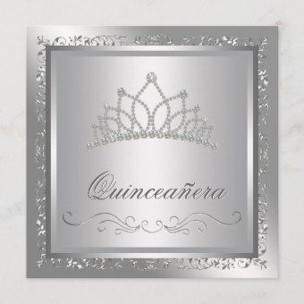 Diamond Tiara Elegant Silver Damask