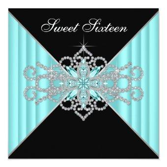 Diamond Turquoise Blue and Black Sweet 16 Birthday