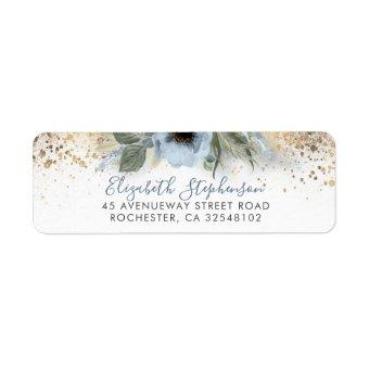 Dusty Blue and Gold Glitter Floral Trendy Label