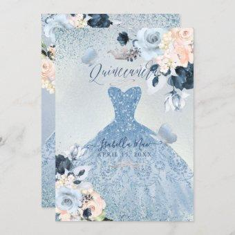Dusty Blue+Blush Roses Glitter Gown