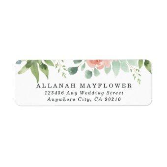 Dusty Blue Blush Succulent Floral Garden Wedding Label