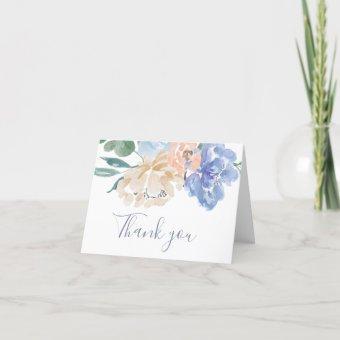 Dusty Blue Florals Wedding Thank You