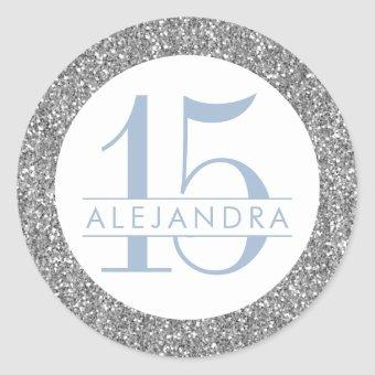 Dusty Blue Silver Glitter Quince Años Birthday Classic Round Sticker
