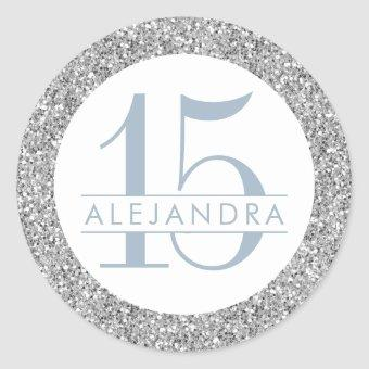 Dusty Blue Silver Glitter Quince Años Name Classic Round Sticker