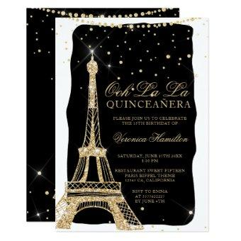 Eiffel tower chic gold glitter black