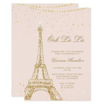 Eiffel tower chic gold glitter blush