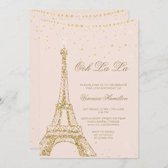 Eiffel tower chic gold glitter blush
