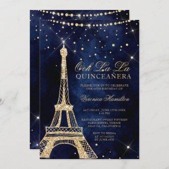 Eiffel tower chic gold glitter sparkle