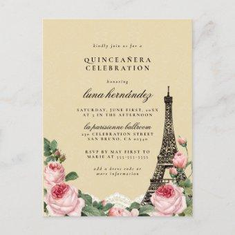 Eiffel Tower Floral Paris Themed Quinceañera Post
