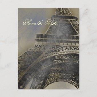 Eiffel tower Parisian french wedding Save the Date Announcement Post