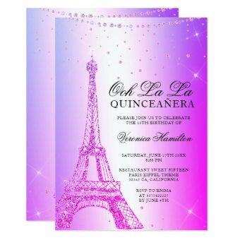 Eiffel tower pink purple metallic foil