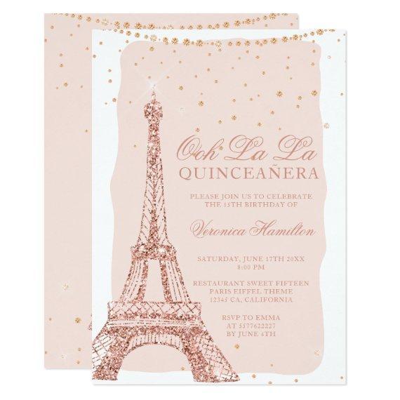 Eiffel tower rose gold glitter blush