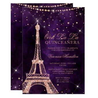 Eiffel tower rose gold glitter purple