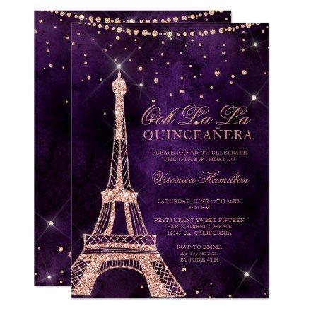 Eiffel tower rose gold glitter purple