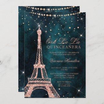 Eiffel tower rose gold glitter teal