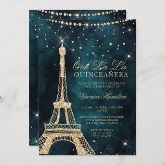 Eiffel tower teal gold glitter sparkle