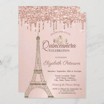 Eiffel Tower,Tiara, Rose Gold Drips Quinceañera