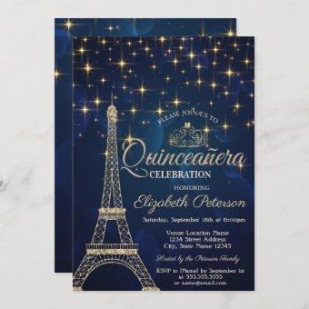 Eiffel Tower,Tiara,Stars Navy Blue Quinceañera