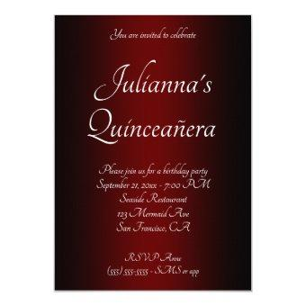 Elegant Black and Burgundy Ombre Quinceañera
