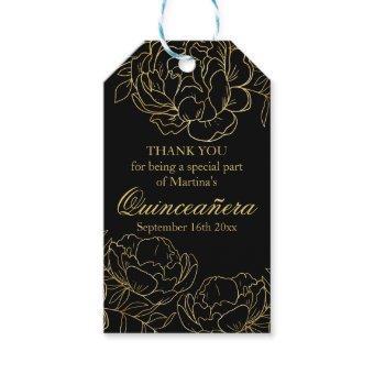 Elegant Black and Gold Floral Sketch Gift Tags