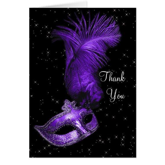 Elegant Black and Purple Masquerade Thank You