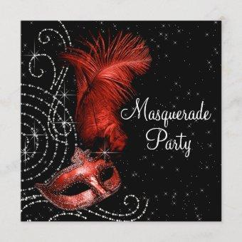 Elegant Black and Red Masquerade Party