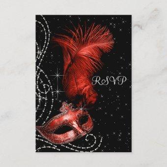 Elegant Black and Red Masquerade Party RSVP