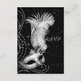 Elegant Black and White Masquerade Party RSVP