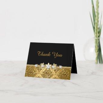 Elegant Black & Gold Damask Thank You