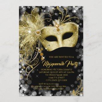 Elegant Black Gold Glitter Masquerade Party