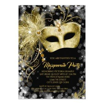Elegant Black Gold Glitter Masquerade Party