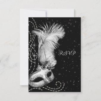 Elegant Black White Masquerade Party RSVP Card